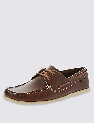 Leather Lace-up Square Toe Boat Shoes, BROWN, catlanding