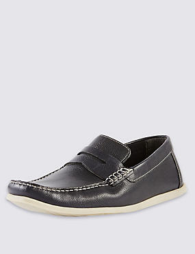 Freshfeet™ Leather Square Toe Saddle Boat Shoes with Silver Technology, NAVY, catlanding