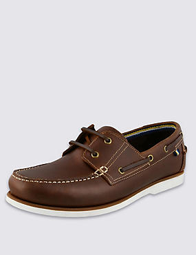 Leather Lace-up Boat Shoes with Freshfeet™, BROWN, catlanding