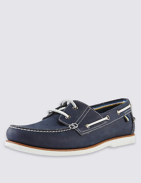 Leather Lace-Up Boat Shoes with Freshfeet™, NAVY, catlanding