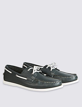 Leather Lace-up Boat Shoes, NAVY, catlanding