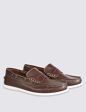 Leather Slip-on Shoes, BROWN, catlanding