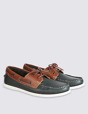 Leather Lace-up Boat Shoes, BROWN MIX, catlanding