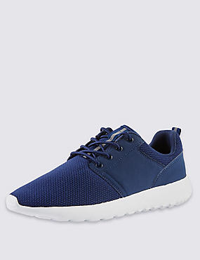 Lace-up Mesh Trainers, NAVY, catlanding