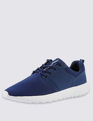 Lace Up Mesh Trainers, NAVY, catlanding