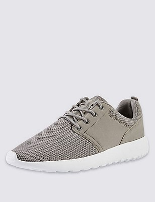 Lace Up Mesh Trainers, GREY, catlanding