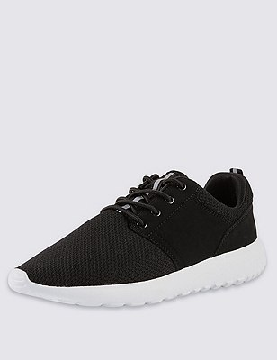 Lace Up Mesh Trainers, BLACK, catlanding