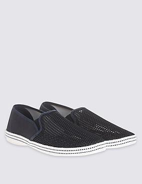 Mesh Espadrille Slip-on Shoes, NAVY, catlanding