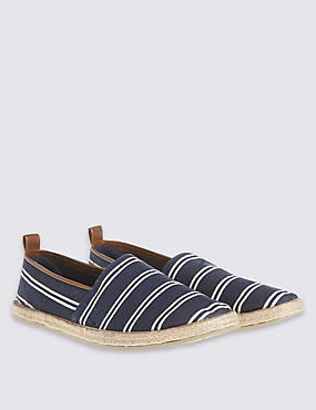 Striped Espadrilles Slip-on Shoes, NAVY, catlanding