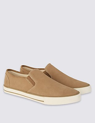 Suede Slip-on Shoes, STONE, catlanding