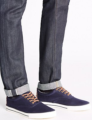 Canvas Lace-up Pump Shoes, NAVY, catlanding