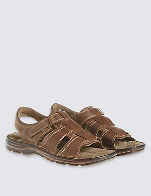 Leather Open Toe Riptape Sandals, BROWN, catlanding