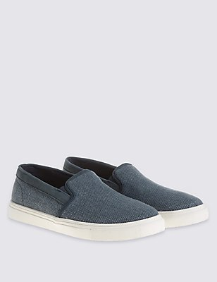 Weave Slip-on Shoes, BLUE, catlanding