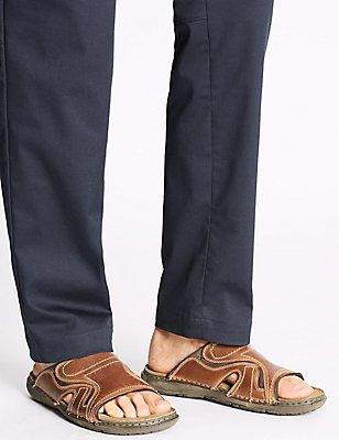 Sandales style mules en cuir, MARRON, catlanding