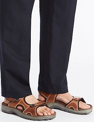 Leather Twin Strap Riptape Sandals, , catlanding