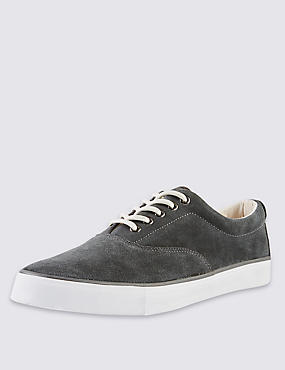Suede Oxford Lace-up Trainers, , catlanding
