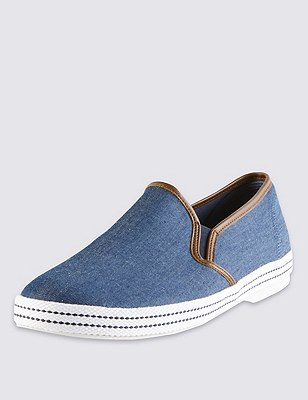 Slip-On Chambray Espadrilles, CHAMBRAY, catlanding
