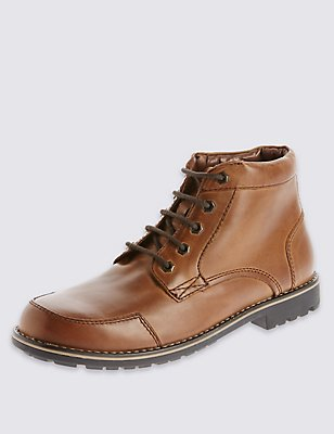 Leather Lace-up Mudguard Chukka Boots, BROWN, catlanding