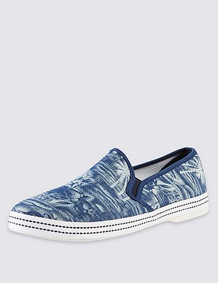 Slip-On Palm Print Espadrilles, NAVY, catlanding