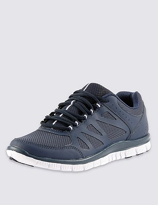 Lace Up Trainers, NAVY, catlanding