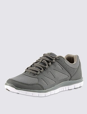 Lace Up Trainers, GREY, catlanding