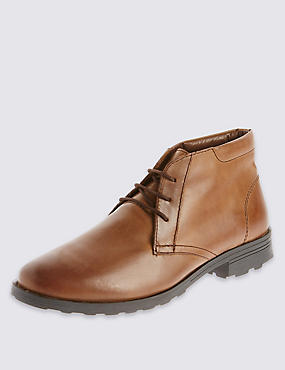 Leather Lace-up Heeled Chukka Boots, BROWN, catlanding