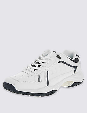 Basic Lace-Up Trainers, WHITE, catlanding