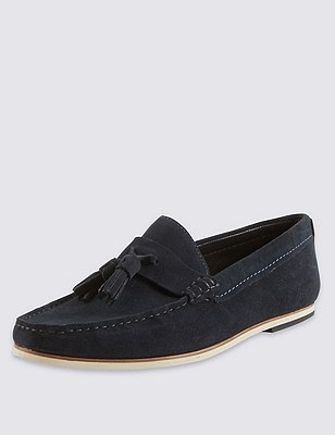 Suede Tassel Slip-On Loafers, NAVY, catlanding
