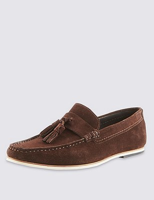 Suede Tassel Slip-On Loafers, BROWN, catlanding
