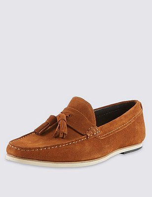 Suede Tassel Slip-On Loafers, TAN, catlanding