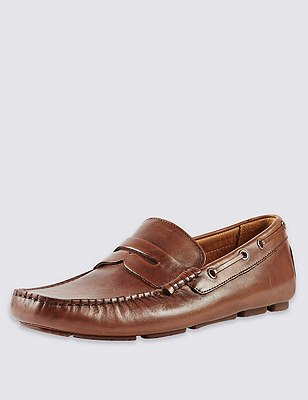 Leather Slip-On Driving shoes, BROWN, catlanding