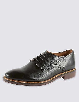 Leather Lace-up Derby Shoes , BLACK, catlanding
