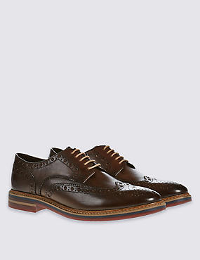 Leather Brogue Shoes, BROWN, catlanding