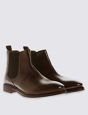 Leather Pull-on Chelsea Boots, , catlanding