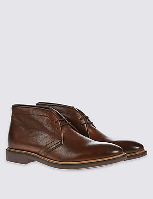 Leather Sole Chukka Lace-up Shoes, BROWN, catlanding