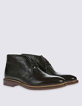 Leather Sole Chukka Lace-up Shoes, BLACK, catlanding