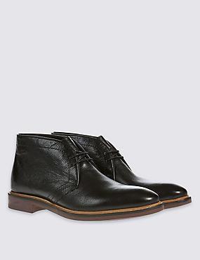 Chaussures Chukka à lacets et semelle en cuir, NOIR, catlanding