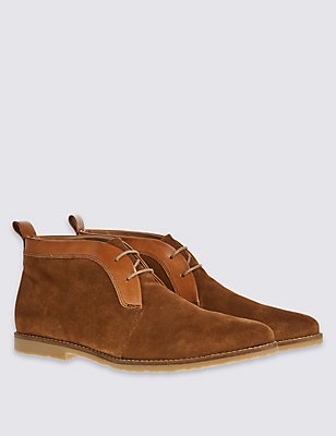 Leather Lace-up Trim Chukka Brogue Shoes, TAN, catlanding