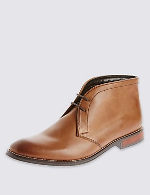 Leather Lace-up Chukka Boots, TAN, catlanding