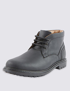 Leather Lace-up Gibson Chukka Boots, BLACK, catlanding