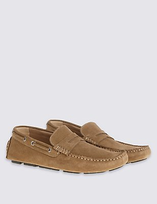 Suede Driver Slip-on Shoes, TAN, catlanding