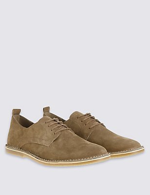 Suede Desert Lace-up Shoes, BROWN, catlanding