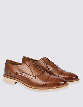 Leather Contrast Sole Lace-up Brogue Shoes, TAN, catlanding