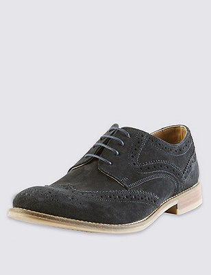 Suede Lace Up Brogue Shoes with Stain Resistance, NAVY, catlanding