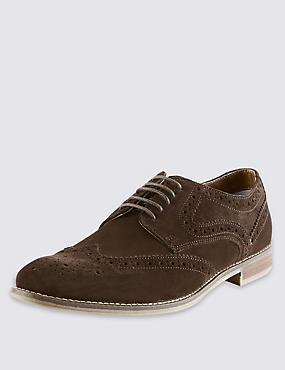 Suede Lace Up Brogue Shoes with Stain Resistance, BROWN, catlanding