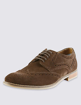 Suede Lace Up Brogue Shoes with Stain Resistance, TAN, catlanding