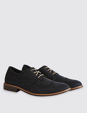 Suedette Brogue Shoes, NAVY, catlanding