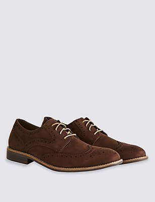 Suedette Brogue Shoes, BROWN, catlanding