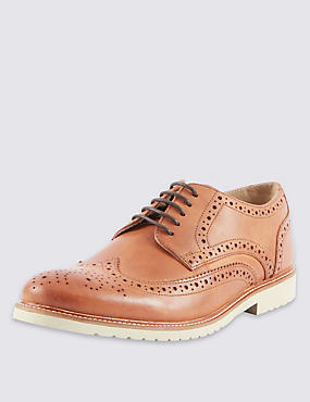 Leather Contrast Sole Brogue Shoes, TAN, catlanding