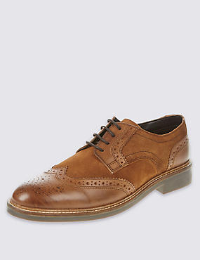 Leather Lace-up Brogue Shoes, BROWN MIX, catlanding